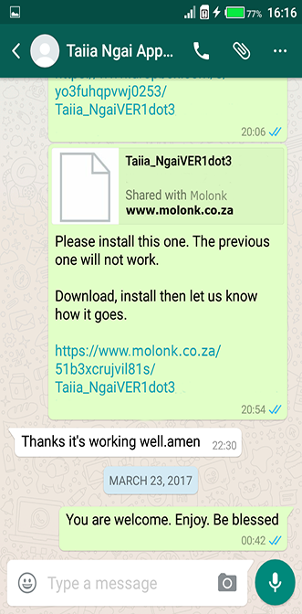 Happy clients who bought Kamba Hymns Book then got download link and installed the app