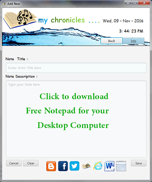 Free My Chronicles Notepad